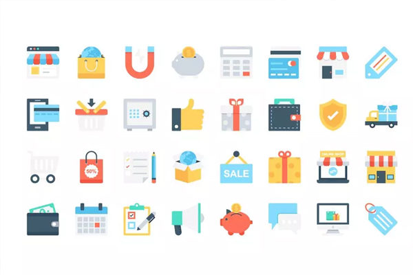 <span class='yzk_title_71928'>电商购物图标素材 Flat Shopping and Commerce Icons</span>