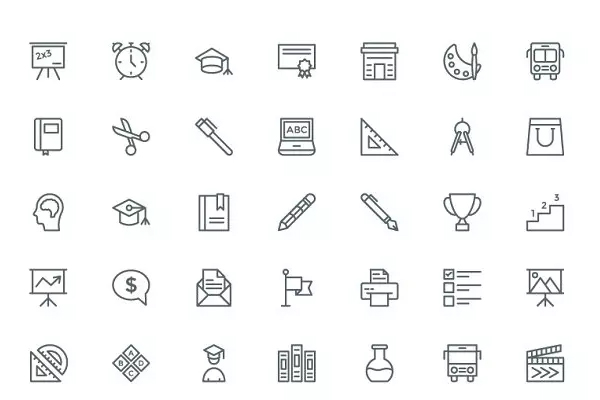 <span class='yzk_title_71942'>教育线型矢量图标 240 Education and School Line Icons</span>