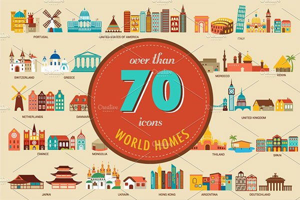 <span class='yzk_title_83779'>旅行名胜插画 Homes from the world 70 illustration</span>