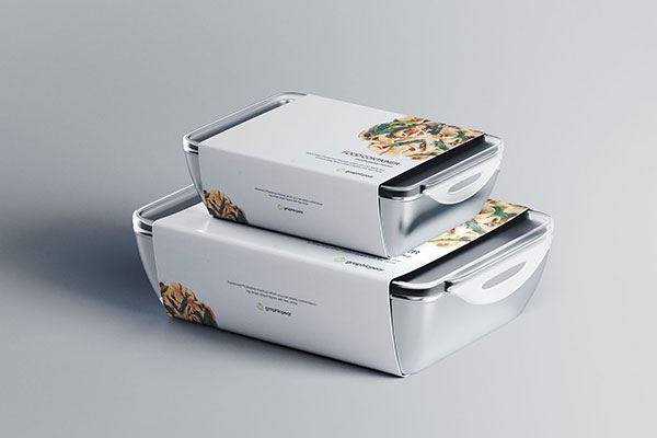 <span class='yzk_title_85106'>带标签快餐包装盒设计效果图样机模板 Food Container Mockup with Label</span>