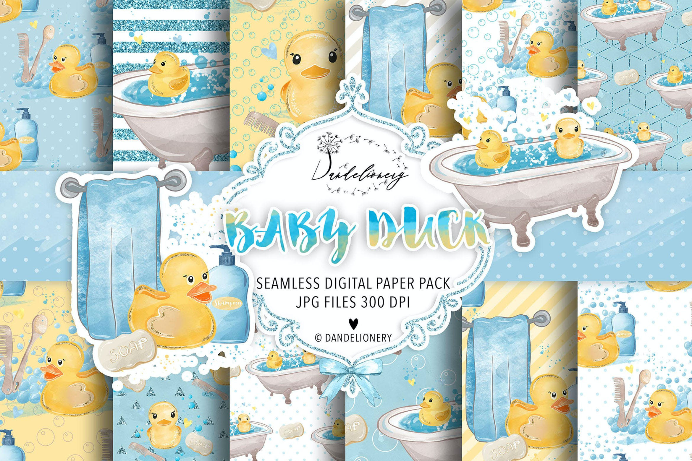 <span class='yzk_title_114047'>水彩小黄鸭宝宝数码纸图案素材包 Watercolor Baby Duck digital paper pack</span>
