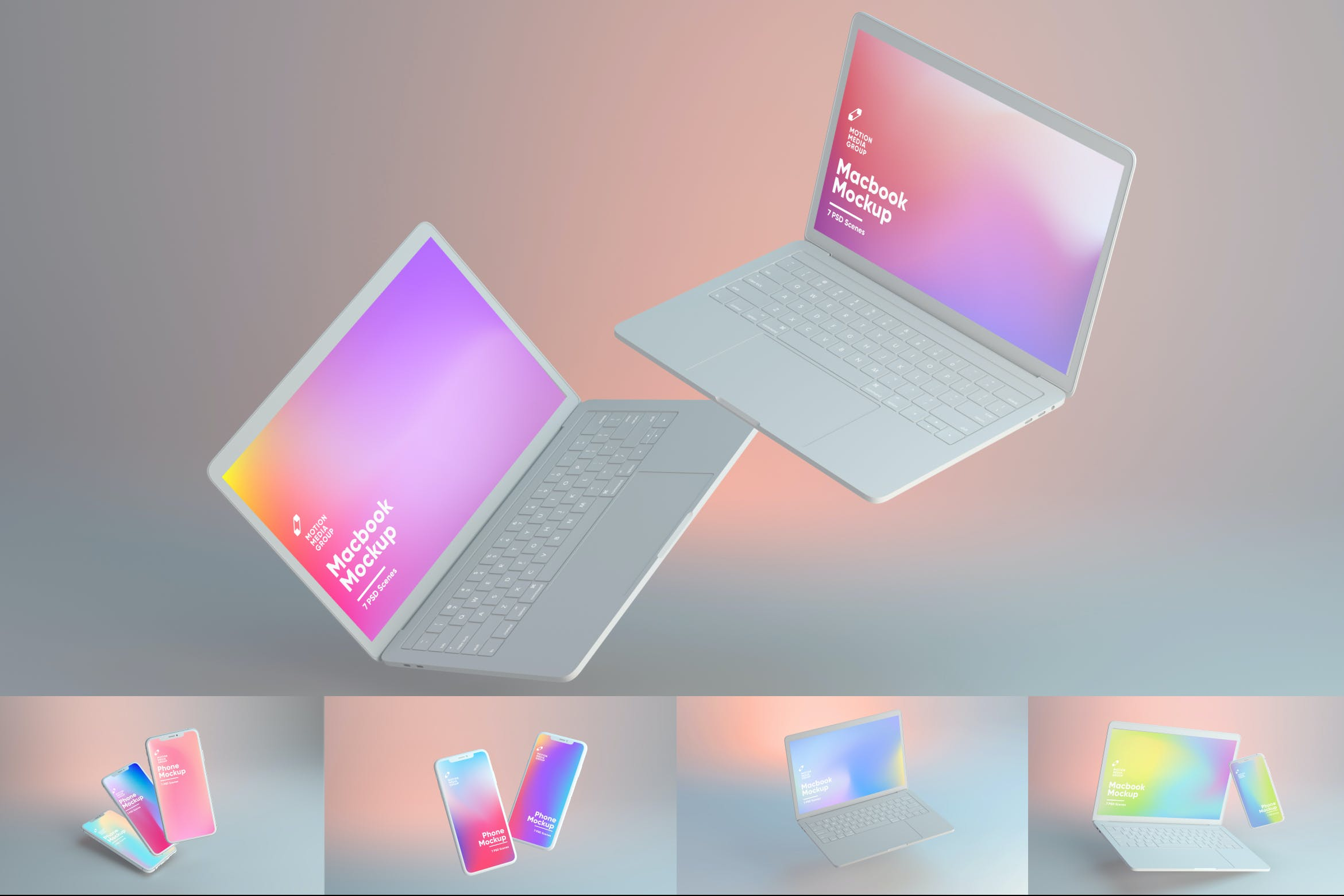 <span class='yzk_title_113907'>漏光效果iPhone&MacBook设备屏幕预览样机模板 Light Leaks Iphone and MacBook Mockups</span>